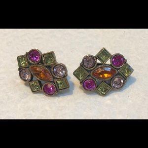 Vtge Multicolor Rhinestone ClipOn Earrings